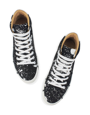 Black and white splash high top new sneaker art to wear with signature striped soles by Georgina Goodman