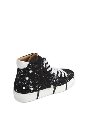 Black and white splash high top trainer by Georgina Goodman with signature striped soles
