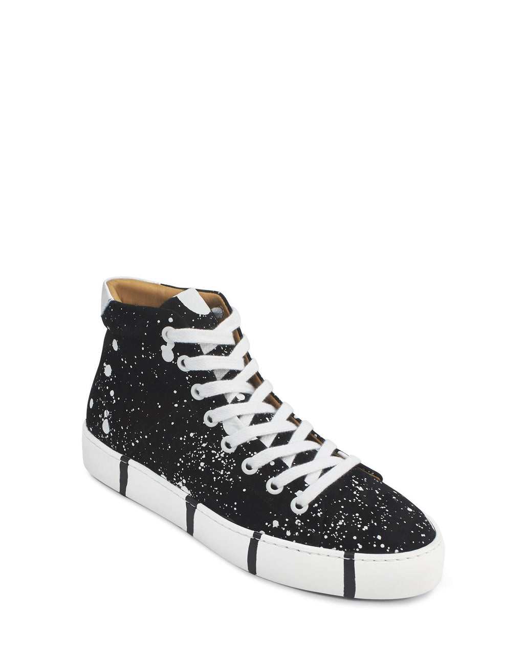 Georgina Goodman black and white splash sneakers, art to wear sneakers in suede with recycled soles.