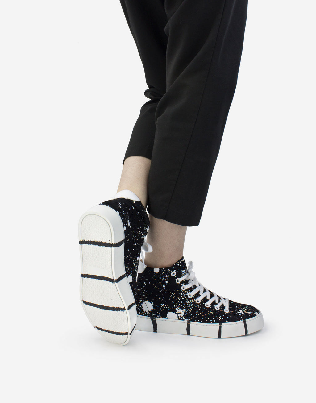 Black and white splash sneaker art to wear with signature striped soles by Georgina Goodman