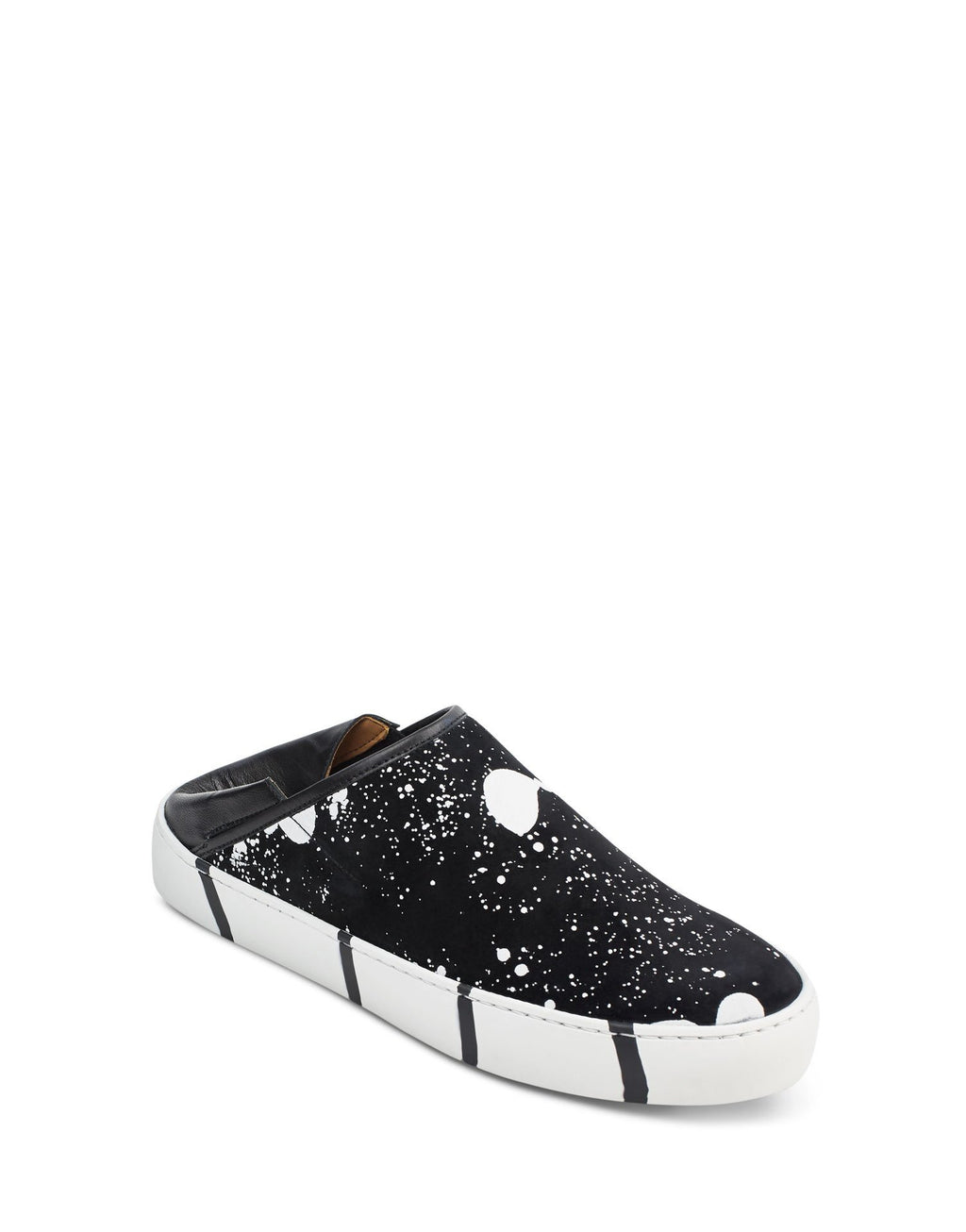 Black and white splash art to wear unique slip on sneaker by designer Georgina Goodman