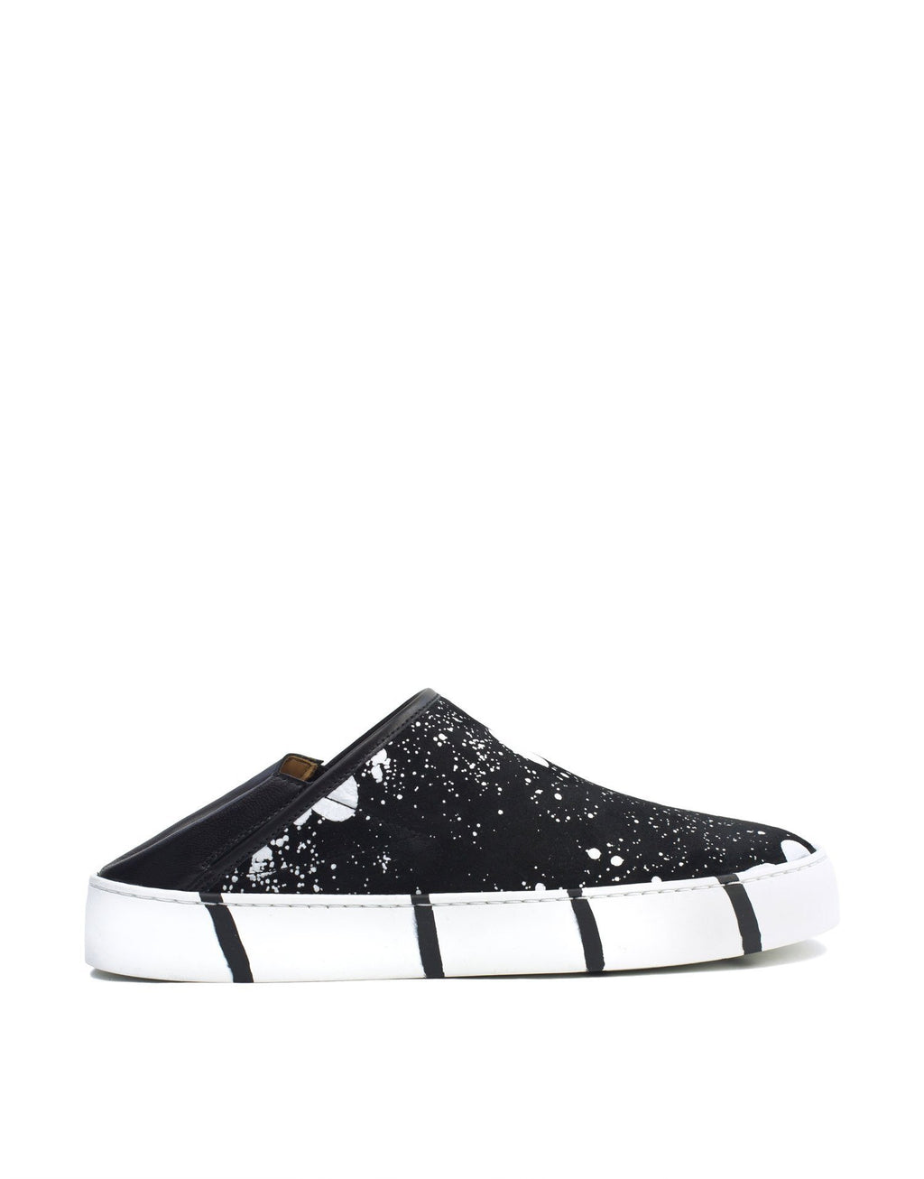 white splashed black suede slip on sneaker art to wear by Georgina Goodman