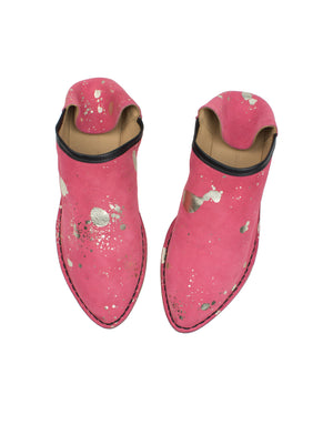 Designer leather slip on mule, an outdoor shoe with an indoor attitude. These slip ons have a hidden wedge and cushioned insole for maximum comfort. Each pair has a unique splash variation, they are designed by Georgina Goodman and Made in Portugal.