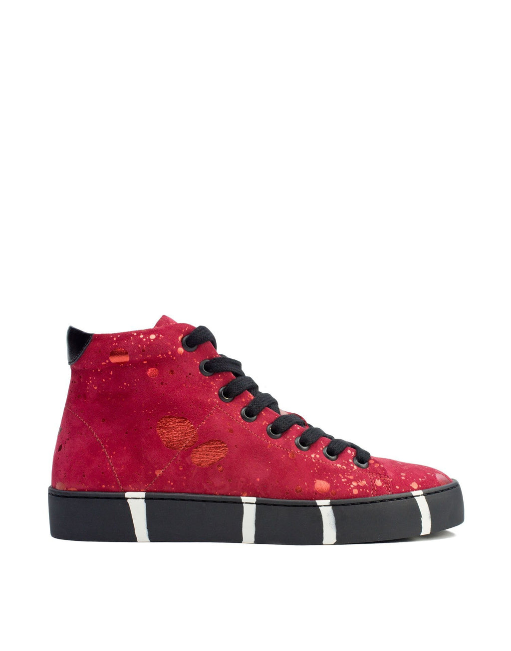 vibrant red high top designer sneaker art to wear by Georgina Goodman