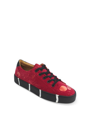 Red suede low top sneaker by Georgina Goodman design art to wear