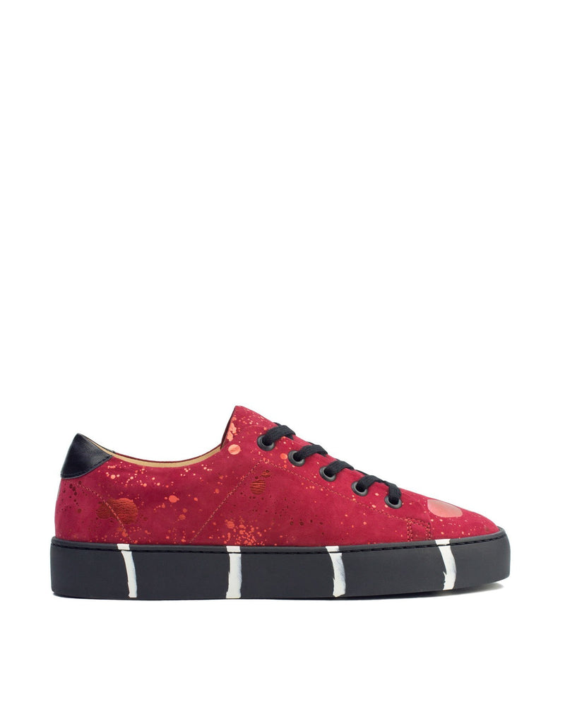 Red low top sneaker art to wear by Georgina Goodman