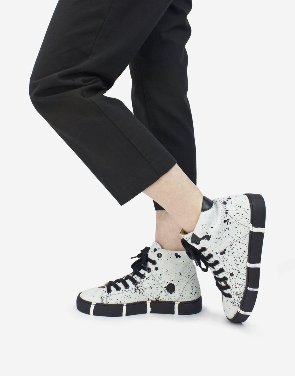 White and black splash high top funky sneaker