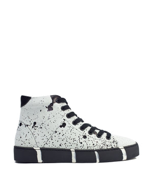 White and black splash high top unique sneaker by Georgina Goodman