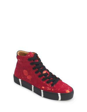 Signature striped sole high top trainer in red suede by designer Georgina Goodman