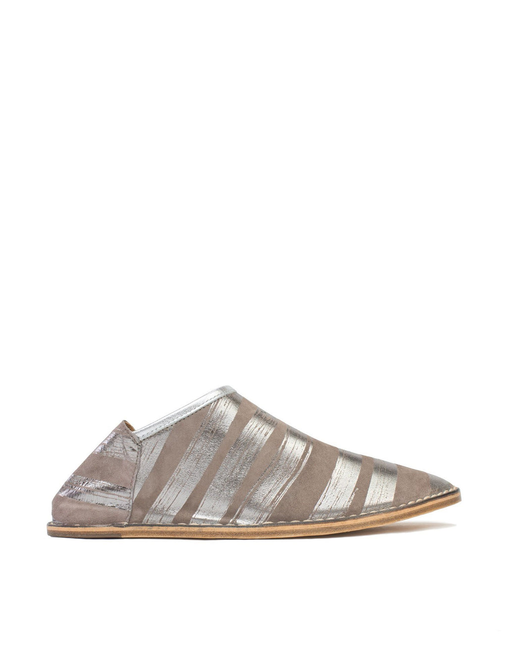 Neutral kid suede slip on slipper shoe with metallic anthracite brushstroke stripes by designer Georgina Goodman