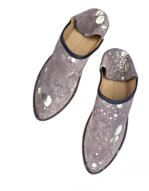 Taupe and Platino splash slipper, a modern hybrid babouche, an outdoor shoe with an indoor attitude. Designed in London by Georgina Goodman.