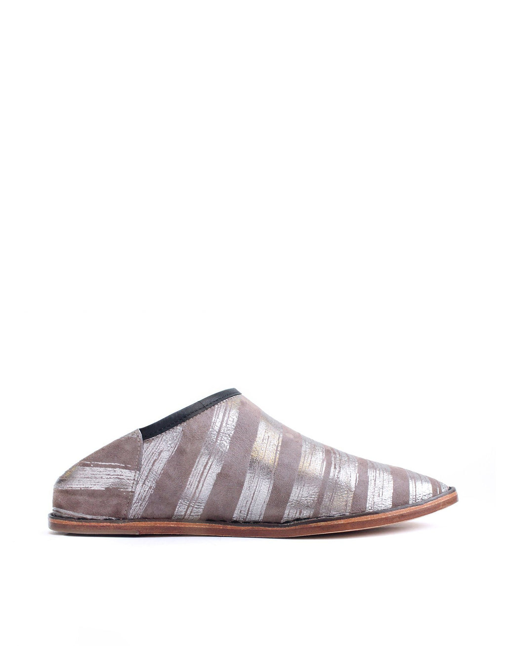 Taupe and Anthracite stripe slip on with a hidden wedge and padded insole for comfort. An stylish shoe for indoor and out by London designer Georgina Goodman. Each pair unique.