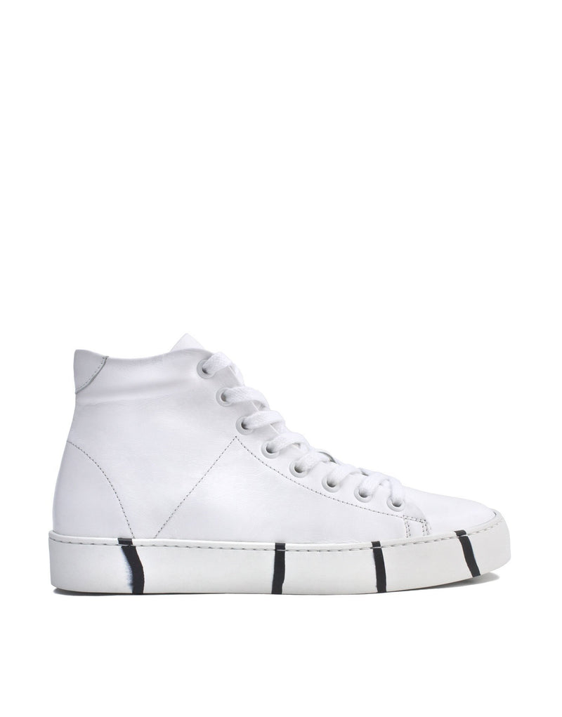 Classic minimal white leather high top sneaker with signature Georgina Goodman striped soles