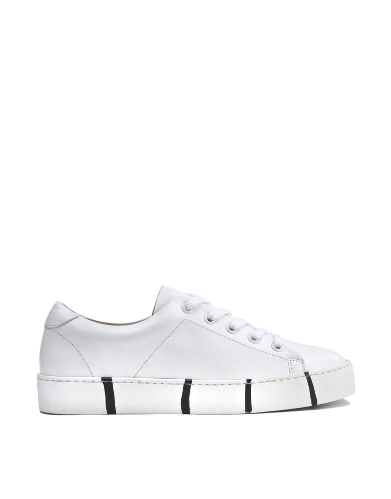 classic minimal white leather sneaker with signature Georgina Goodman striped soles