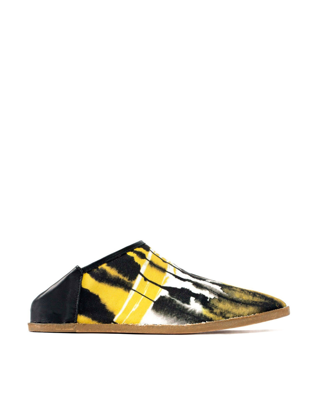 Unique printed canvas summer slip on slipper shoe by designer Georgina Goodman