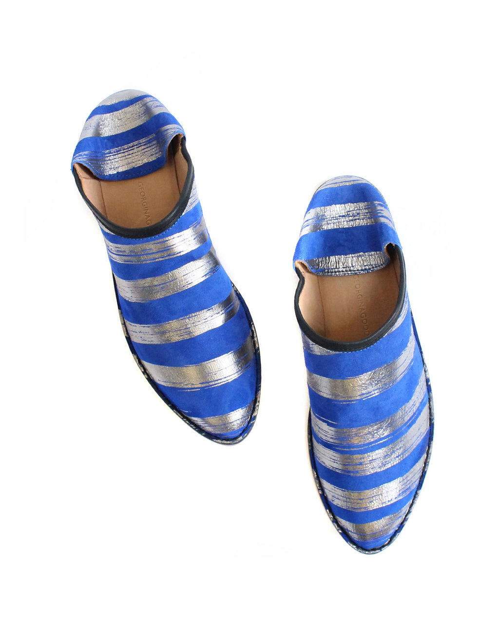 designer shoe samples for sale, the slipper shoe, the slip on shoe by Georgina Goodman, azure blue and silver brushstroke stripes from original designer artwork, designed in London, slipper style, London style, comfy feet, style for any age