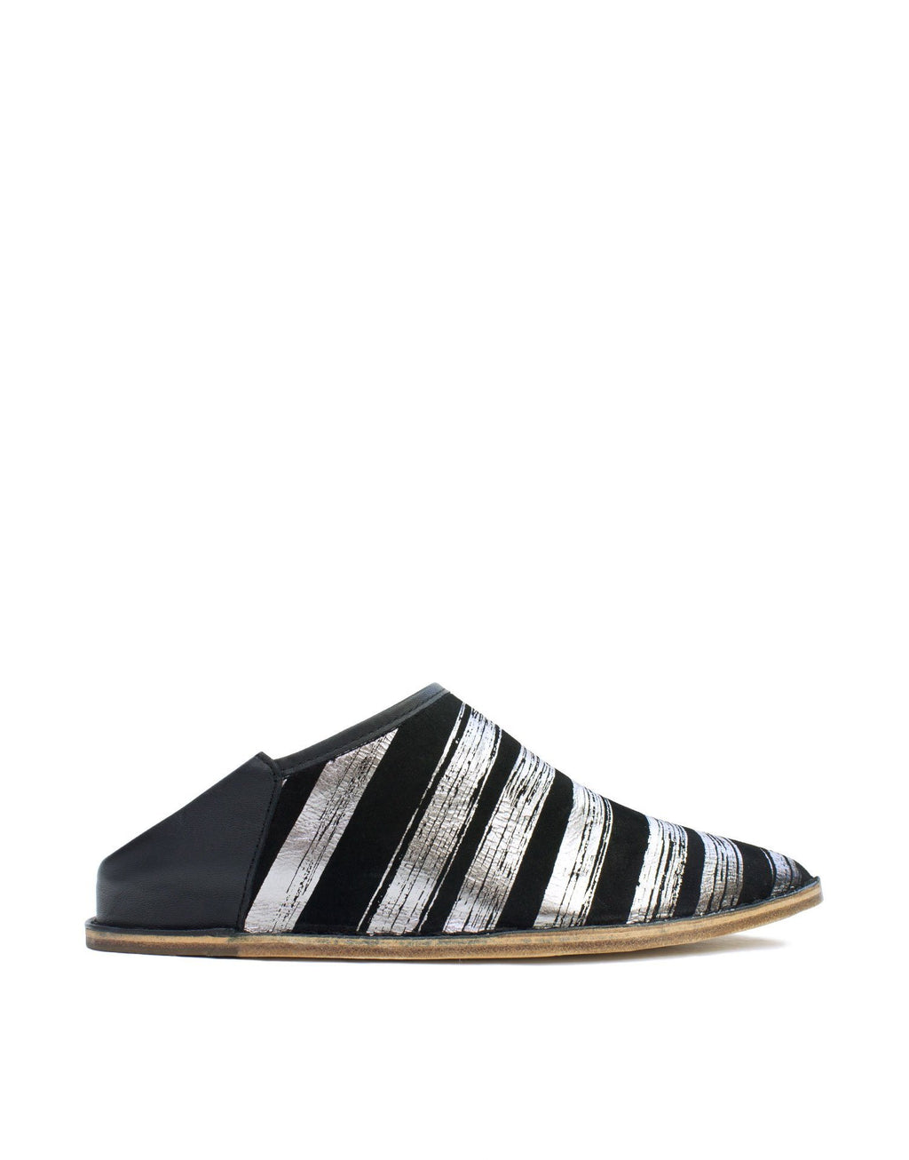Black and silver striped slip on slipper shoe by designer Georgina Goodman
