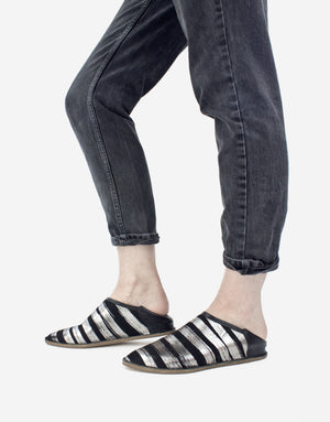 Black and anthracite silver striped slip on shoe, designer slip on babouche by Georgina Goodman with hidden wedge and padded insole for ultimate comfort, effortless style, slip on and go, style at any age