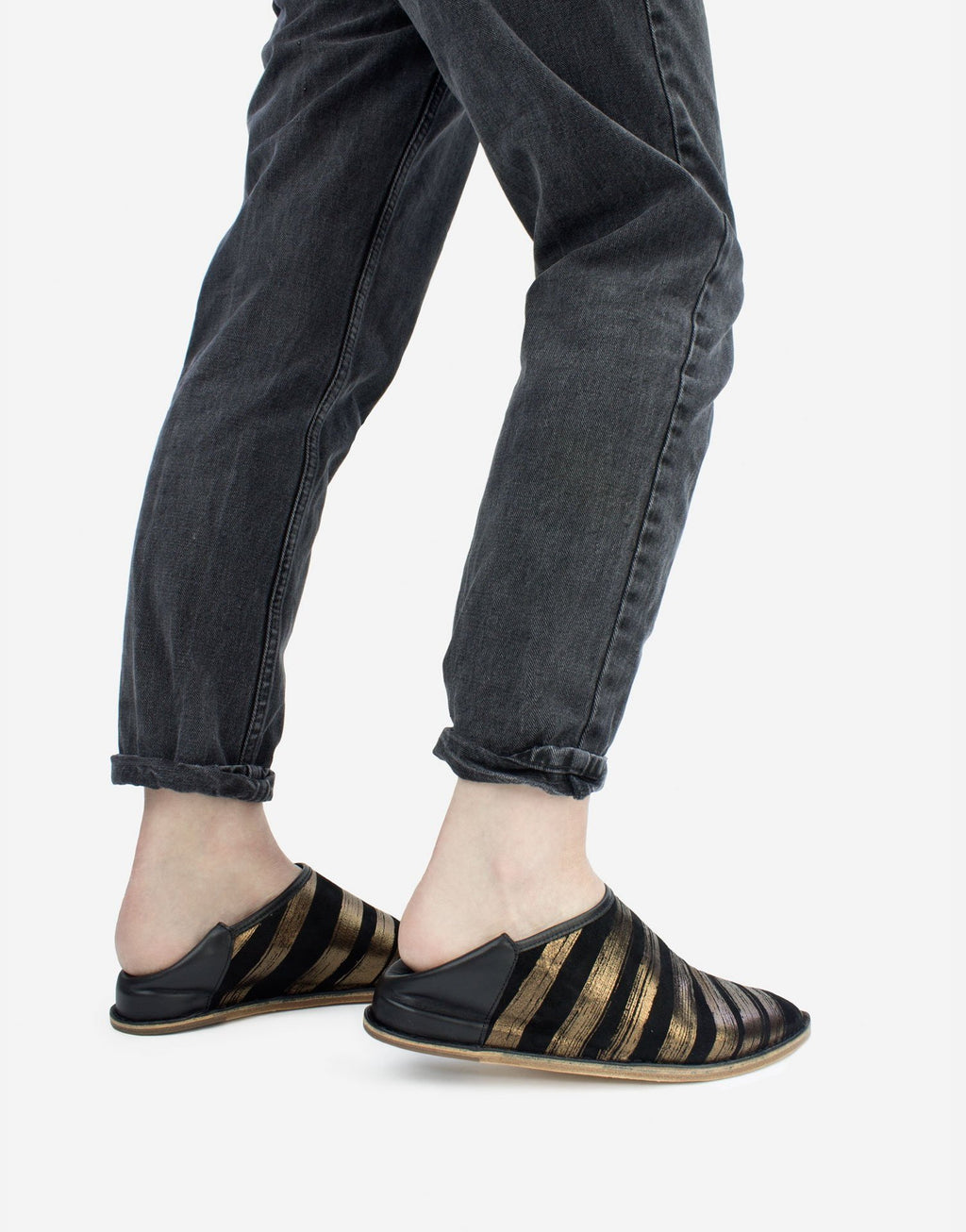 Black suede slip on slipper shoe with signature brush stroke stripes in bronze metallic