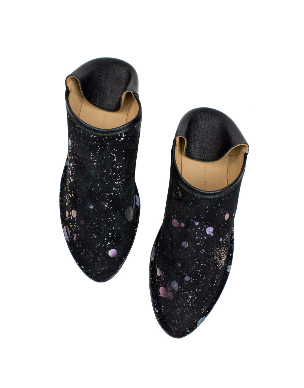 Black suede indoor outdoor slipper with unique splash artwork by designer Georgina Goodman