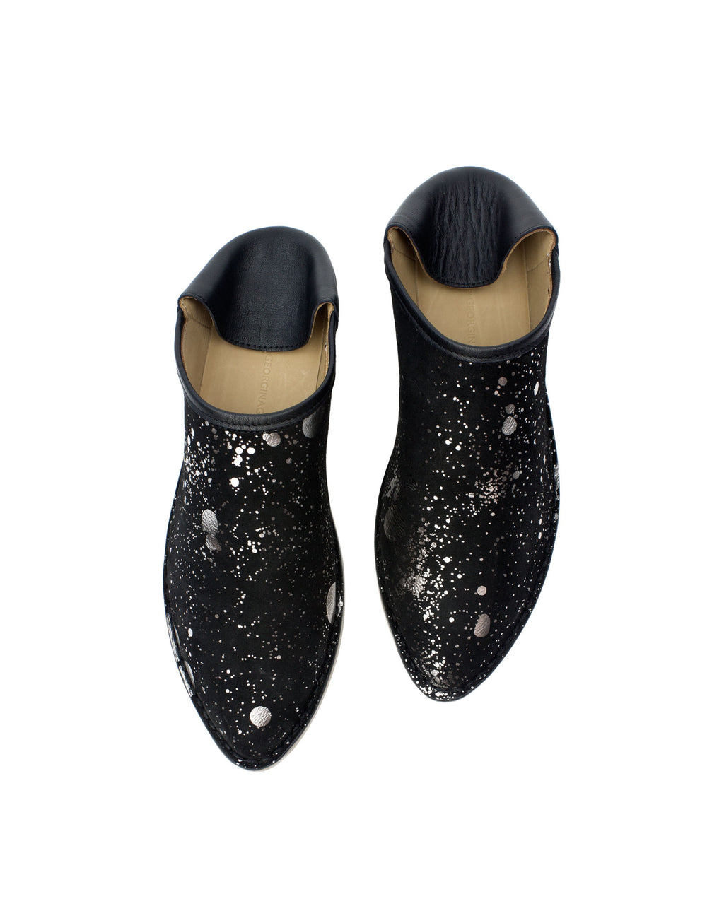 Black and silver splash babouche with hidden wedge and padded insole. A designer slip on leather shoe, easy style, effortless at any age.