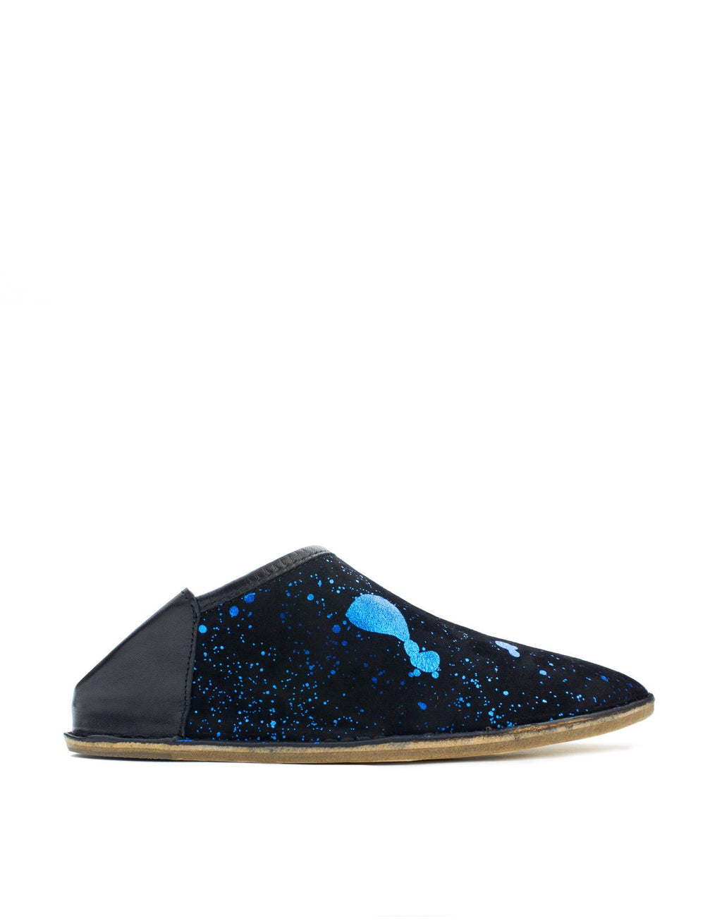 Black and blue metallic splashed suede slip on slipper shoe by designer Georgina Goodman