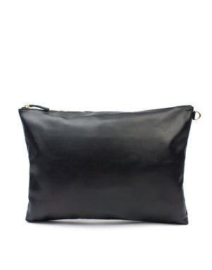 Oversized soft leather designer pouch. London designer leather clutch bag, wear alone on use to keep small items safe in a larger tote by day.