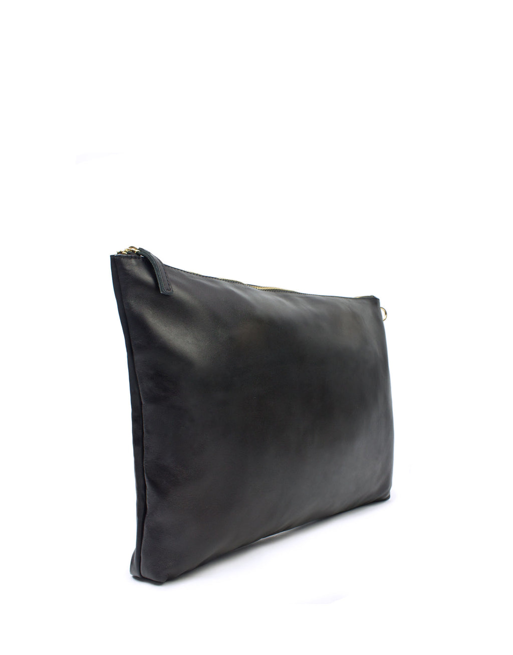 Oversized soft black leather by London designer Georgina Goodman with unique black striped cotton lining. This oversized clutch will fit your laptop or tablet.