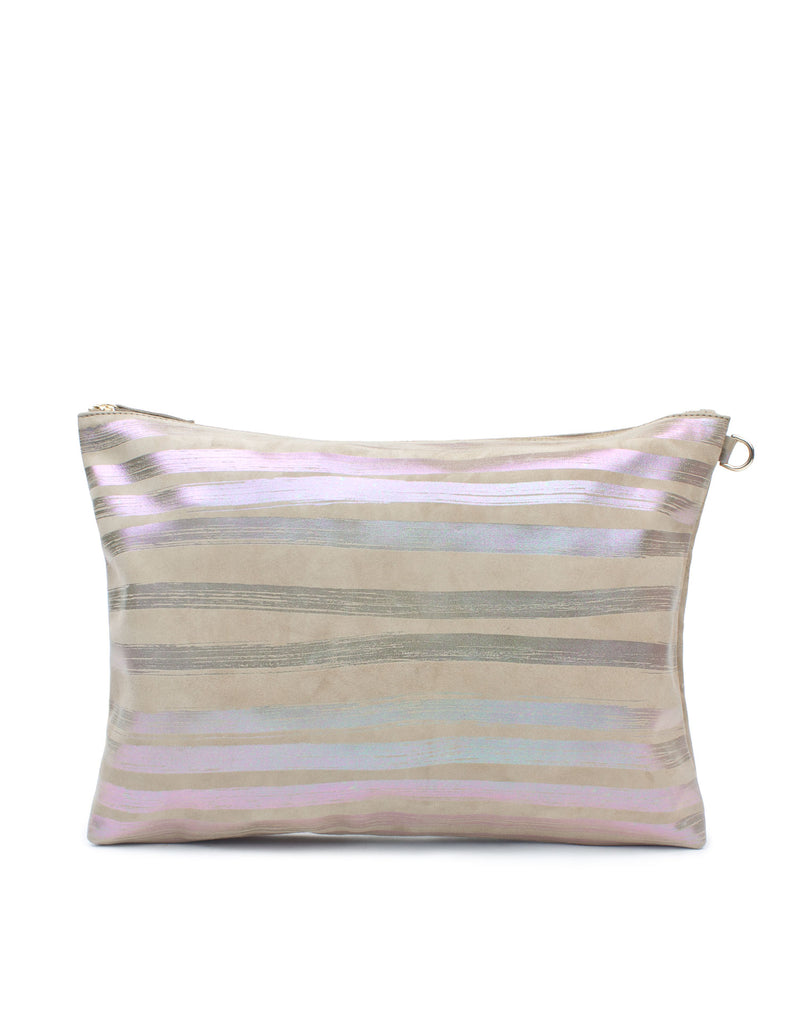 Oversized leather clutch by designer Georgina Goodman in suede and signature brushstroke stripes and splashes. This oversized pouch can fit your laptop or tablet. This is a one off bag.