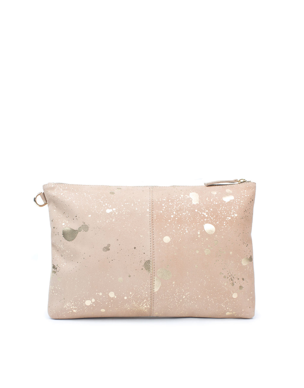 Light dusty peach soft suede clutch bag by designer Georgina Goodman. This is an amazingly useful bag with unique metallic suede upper with both splash and stripe prints.