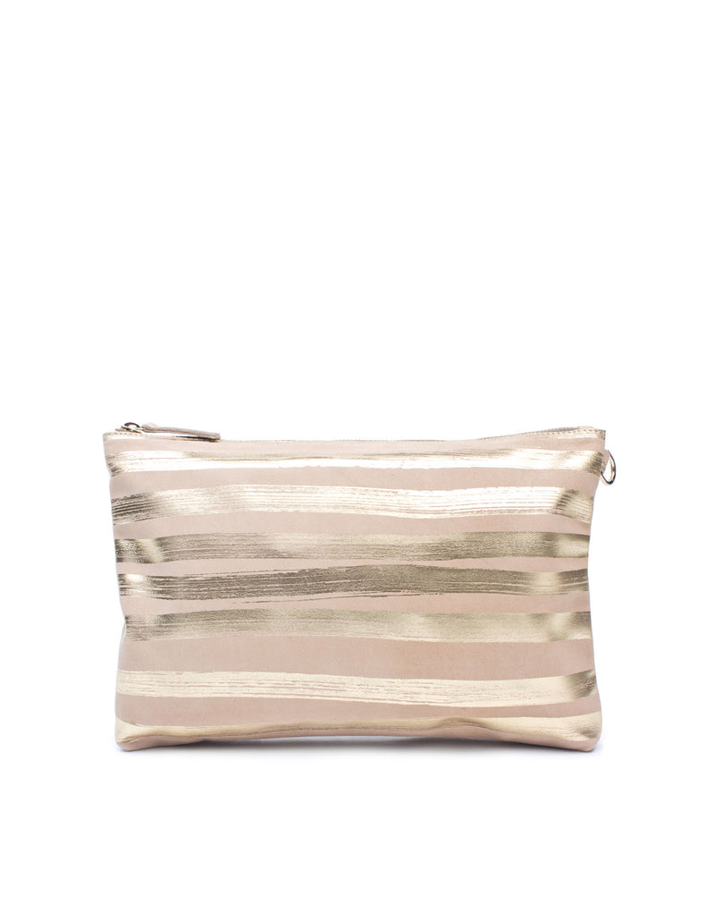 Light dusty peach soft suede clutch bag by designer Georgina Goodman. This pouch bag is fully lined in cotton with printed black signature stripes. This is an amazingly useful bag!