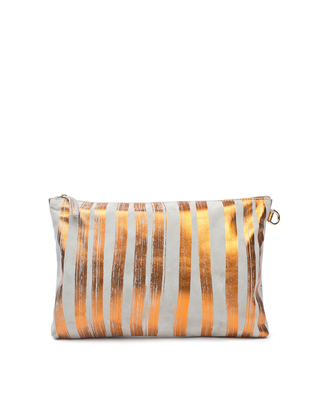 Grey and vibrant orange striped leather pouch bag, full lined in soft cotton printed with unique and signature brushstroke stripes. The lining includes convenient pockets to keep smaller items safe.