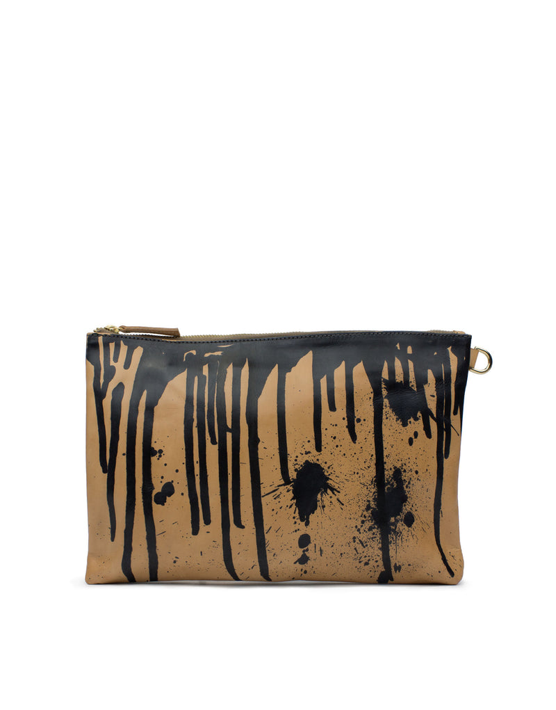 Hand Painted Leather pouch bag by designer Georgina Goodman. A one of kind bag, purchased as seen, one available!