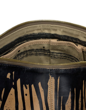 Hand Painted leather clutch bag by designer Georgina Goodman with internal organisational pockets