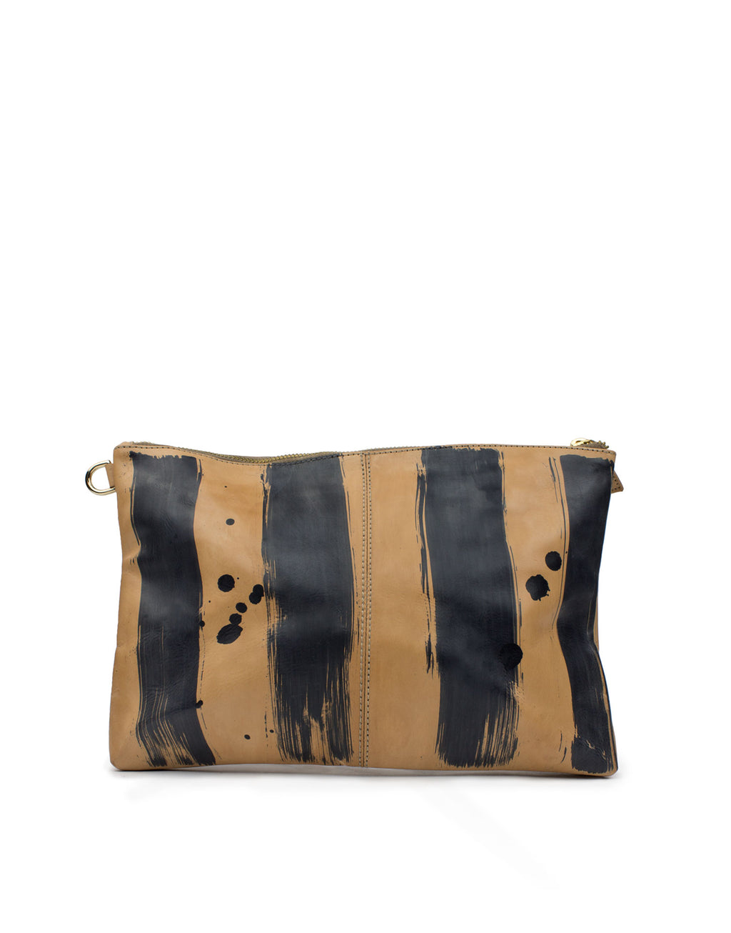 One of a kind hand painted leather clutch by designer Georgina Goodman, Made in Portugal and hand painted in London this handy pouch bag is Made in Love