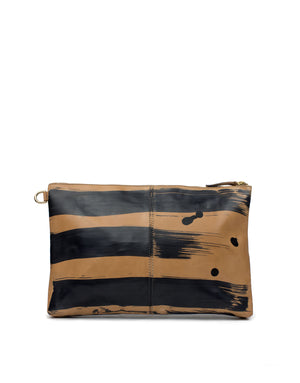 Hand Painted leather clutch bag by designer Georgina Goodman. A one of a kind bag, made in love.