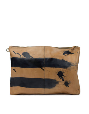 Every hand painted bag is unique from the last, no two the same. This hand painted leather pouch can be worn as an oversized or clutch or even a laptop case.