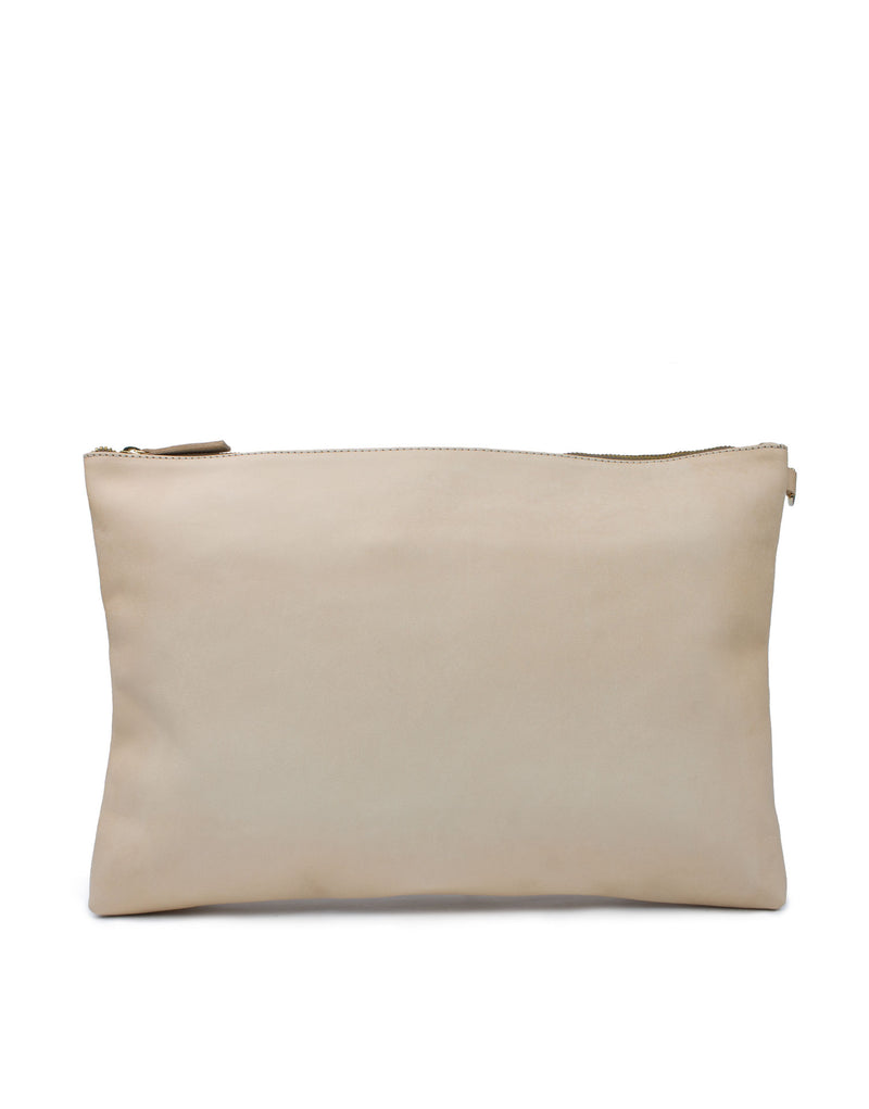 Wear this natural leather bag as an oversized clutch, use to store your essentials in a larger bag by day or you can even use this size as a cover for your laptop or tablet.