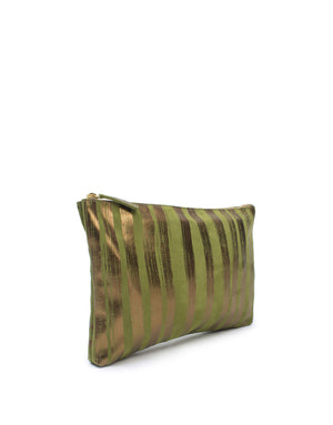 Khaki and bronze suede leather designer bag fully lined in soft cotton lining printed with brushstroke stripes and integrated pockets.