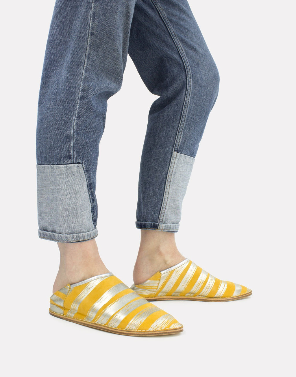 Yellow and Silver Stripe Leather Slip On Slipper Shoe worn with denim by Georgina Goodman