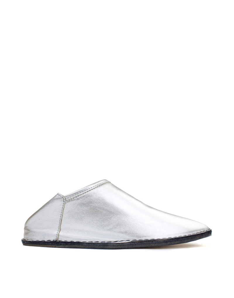 Silver slip on slipper babouche by designer Georgina Goodman, effortless style for any age