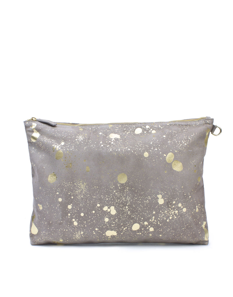 Leather pouch by designer Georgina Goodman, soft suede oversized designer leather pouch in taupe with platino foil splashed artwork.
