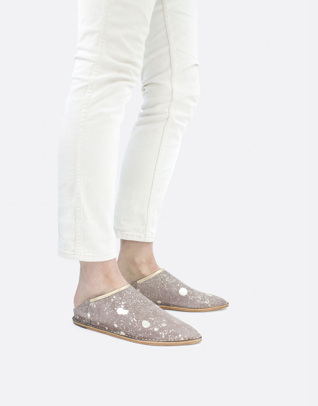 Casual effortless slip on suede leather shoe with foil splashes by designer Georgina Goodman
