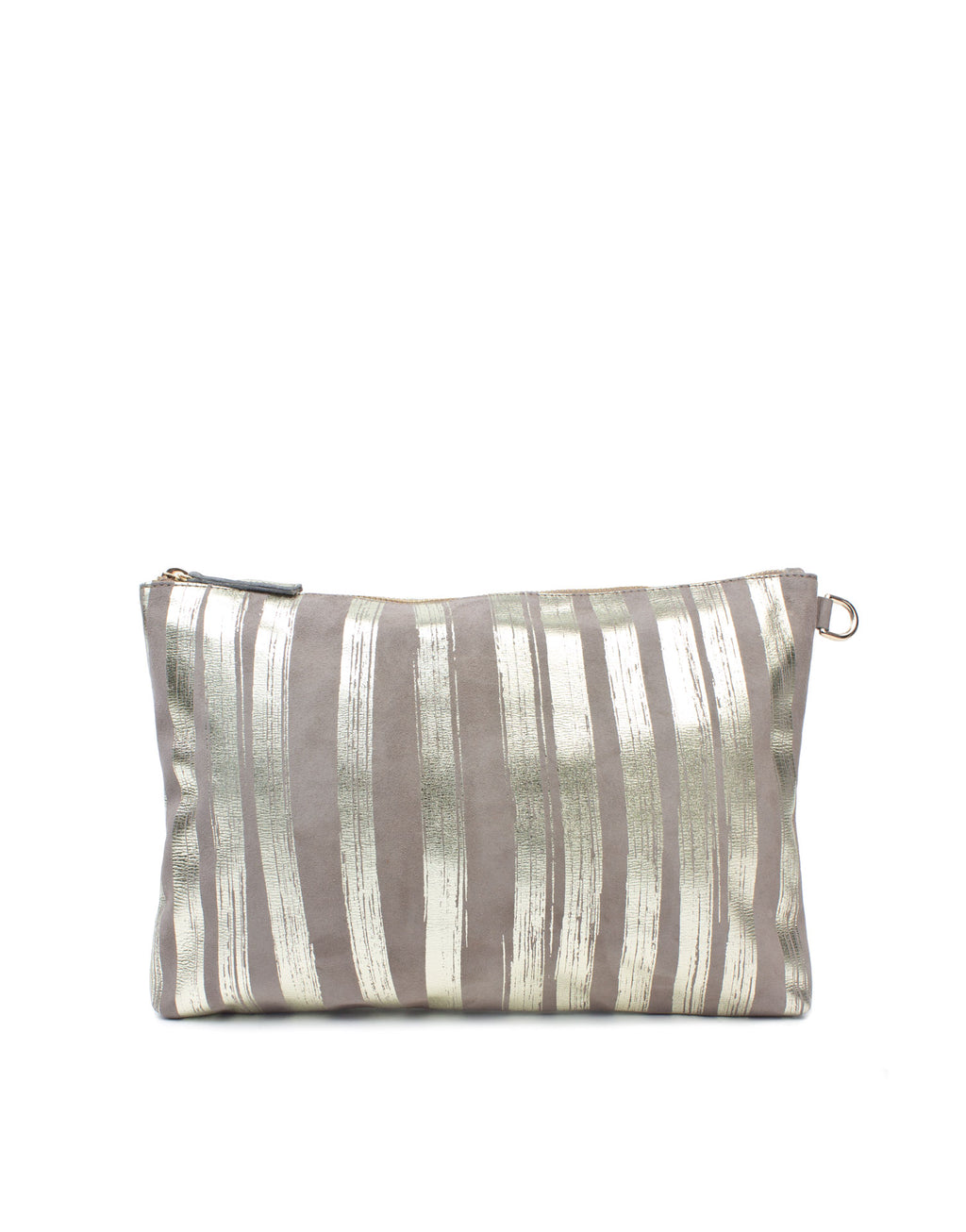 Medium in sized soft suede leather pouch by London designer Georgina Goodman. This is a unique leather pouch with the Georgina Goodman signature stripes in metallic foil.