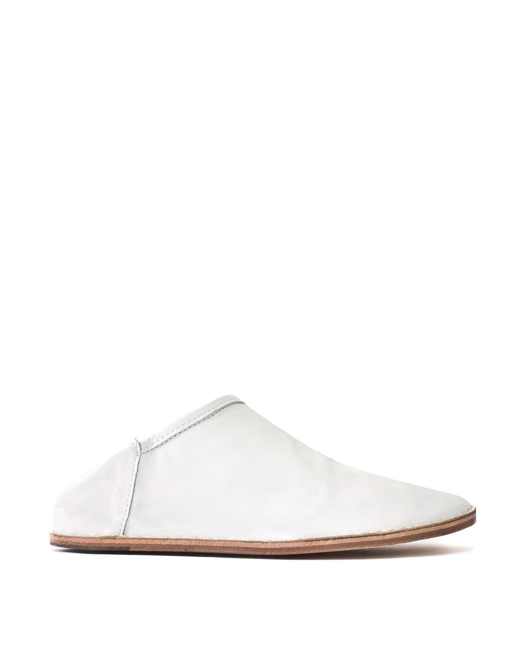 Designer classic white minimal soft leather slip on slipper shoe