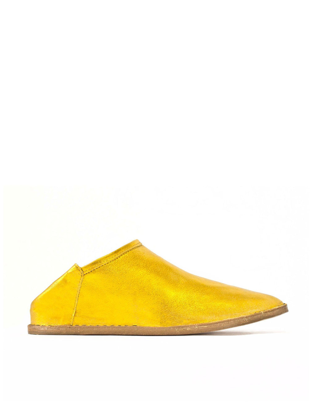 Slip on slipper shoe by designer Georgina Goodman in a vibrant metallic yellow suede, this is an unworn selling sample sold at a discounted price, effortless style at any age,