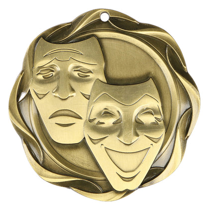 Drama medal. Whether It's a drama or a tragedy, this medal is a great way to say job well done. Also great for schools' and camps' end of season awards.