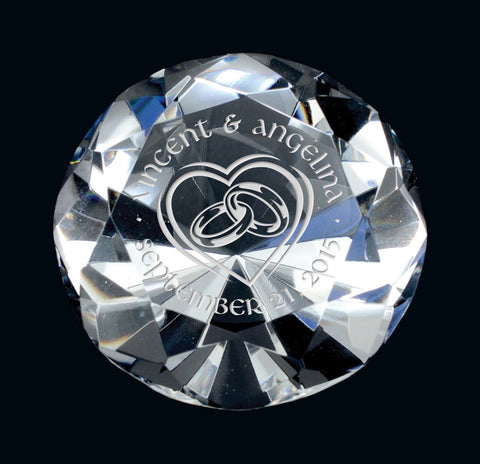 """Diamond Paperweight"" Crystal Giftware"