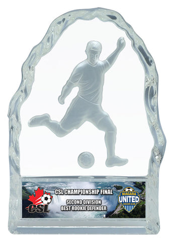 """Glass Iceberg"" Men's Soccer Glass Trophy"