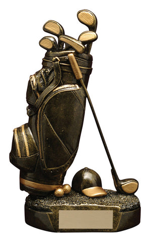 """Aztec Gold Golf Bag"" Golf Trophy"